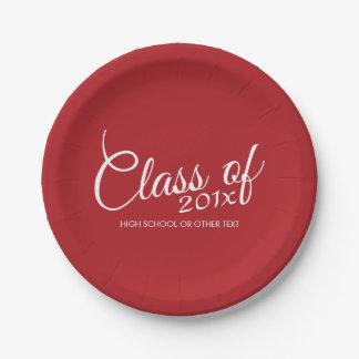 Clase roja de la graduación de año y de texto de plato de papel de 7 pulgadas