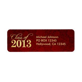 Clase roja del damasco y del oro del vintage etiqueta de remitente
