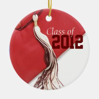 Clase roja del ornamento 2012 adorno navideño redondo de cerámica