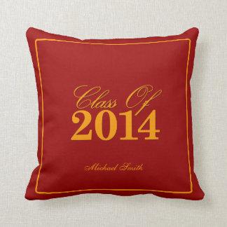 Clase roja y anaranjada de 2014 personalizada almohada