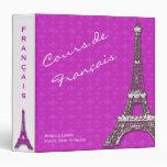 """Clase rosada del francés de la torre Eiffel Carpeta 1 1/2"""""""