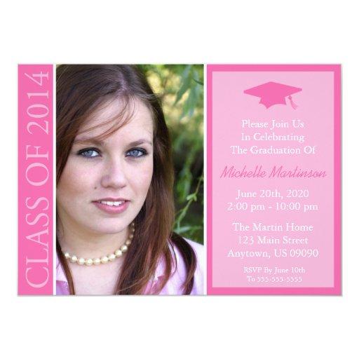 """Clase tradicional de la graduación 2014 (rosa) invitación 5"""" x 7"""""""