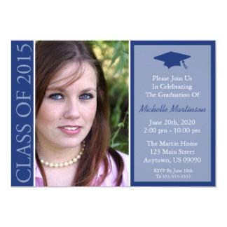 Clase tradicional de la graduación 2015 (azules invitación 12,7 x 17,8 cm
