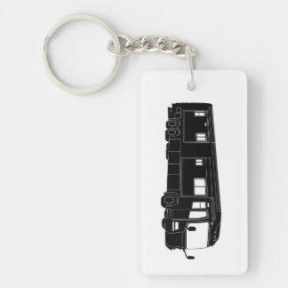 Clase una silueta de Motorhome/del autobús en Llavero Rectangular Acrílico A Doble Cara