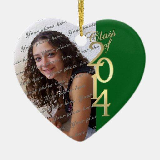 Clase verde de la graduación de 2014 adorno de cerámica en forma de corazón
