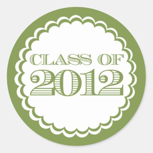 Clase verde de pegatina de la graduación de 2012