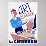 Clases de arte para el poster de los niños
