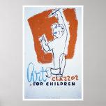 Clases de arte para los niños WPA 1940 Impresiones