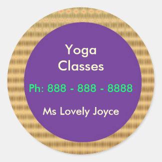 Clases de la yoga - productos del apoyo a empresas pegatinas redondas