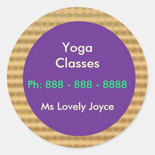 Clases de la yoga - productos del apoyo a empresas pegatina redonda