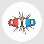 clashing boxing gloves classic round sticker