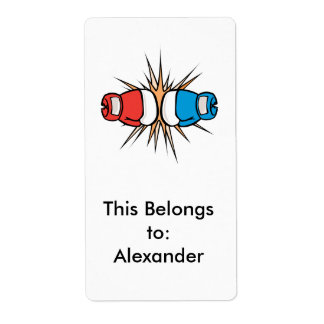 clashing boxing gloves label