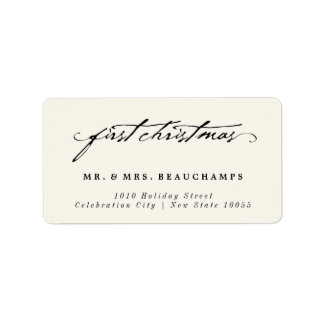 Clasic Handwriting Mr & Mrs 1st Noel Address Label