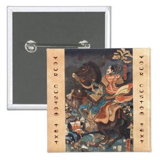 Clasic vintage ukiyo-e legendary samurai general pinback buttons