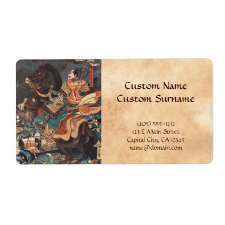 Clasic vintage ukiyo-e legendary samurai general label