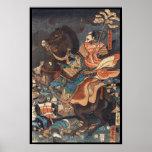 Clasic vintage ukiyo-e legendary samurai general poster
