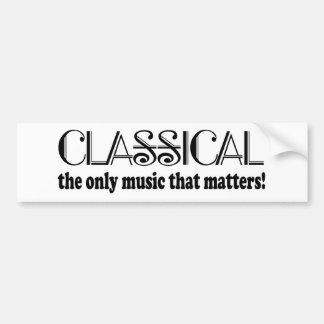 Clásico la única música que importa etiqueta de parachoque