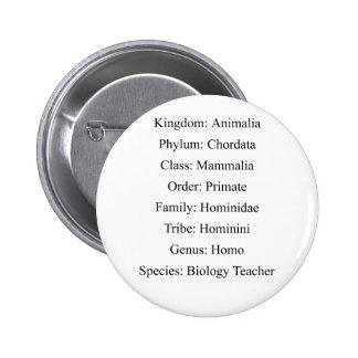 Clasificación biológica - profesor de biología pin redondo de 2 pulgadas