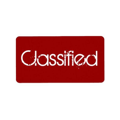 Clasificado - etiqueta de dirección secreta