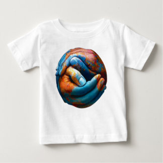 Clasped Hands Forming Planet Earth World Peace Baby T-Shirt