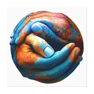 Clasped Hands Forming Planet Earth World Peace Canvas Print