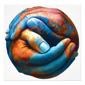 Clasped Hands Forming Planet Earth World Peace Photo Print