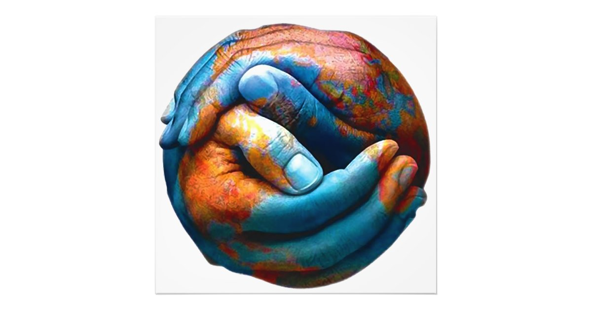 Clasped Hands Forming Planet Earth World Peace Photo Print | Zazzle