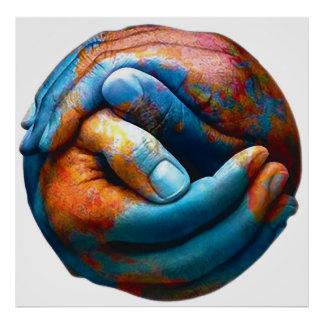 Clasped Hands Forming Planet Earth World Peace Poster