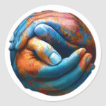 Clasped Hands Forming Planet Earth World Peace Sticker