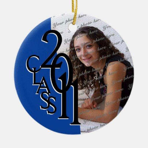 Class 2011 Graduation Photo Double-Sided Ceramic Round Christmas Ornament