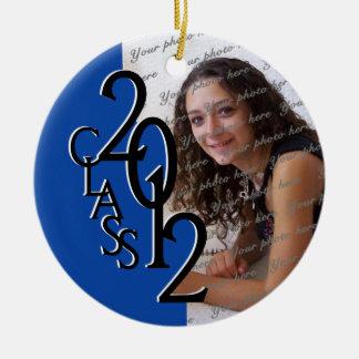 Class 2012 Graduation Photo Blue Double-Sided Ceramic Round Christmas Ornament