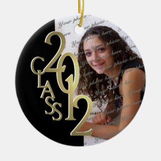 Class 2012 Graduation Photo Gold and Black Ceramic Ornament