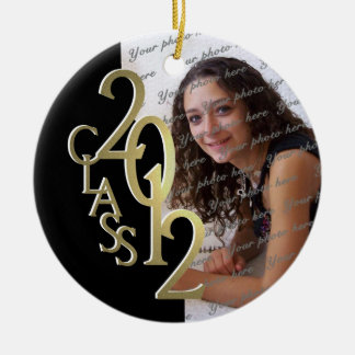 Class 2012 Graduation Photo Gold and Black Double-Sided Ceramic Round Christmas Ornament