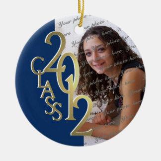 Class 2012 Graduation Photo Gold and Blue Christmas Ornament
