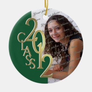 Class 2012 Graduation Photo Gold and Green Ceramic Ornament