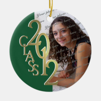 Class 2012 Graduation Photo Gold and Green Christmas Ornament
