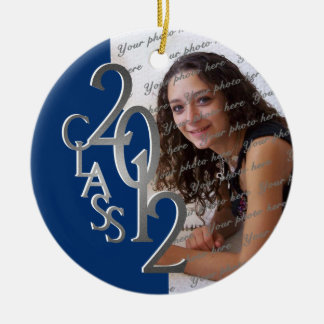 Class 2012 Graduation Photo Silver and Blue Christmas Tree Ornaments