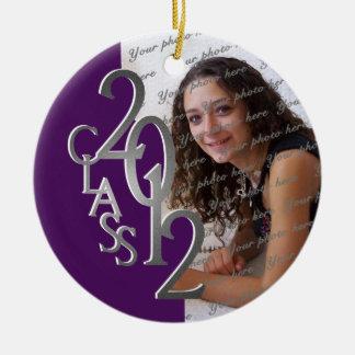 Class 2012 Graduation Photo Silver and Purple Ceramic Ornament