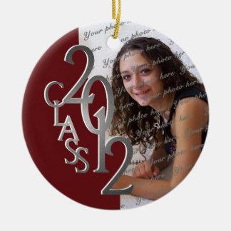 Class 2012 Graduation Photo Silver and Red Ceramic Ornament