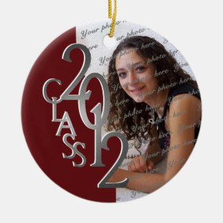 Class 2012 Graduation Photo Silver and Red Christmas Tree Ornaments