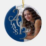 Class 2013 Graduation Photo Blue and Silver Ceramic Ornament