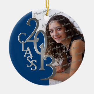 Class 2013 Graduation Photo Blue and Silver Ceramic Ornament
