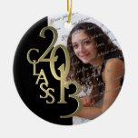 Class 2013 Graduation Photo Gold and Black Ceramic Ornament