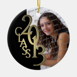 Class 2013 Graduation Photo Gold and Black Ceramic Ornament