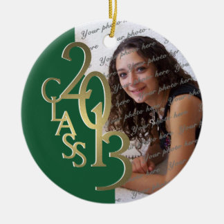 Class 2013 Graduation Photo Gold and Green Ceramic Ornament