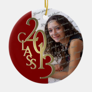 Class 2013 Graduation Photo Gold and Red Double-Sided Ceramic Round Christmas Ornament