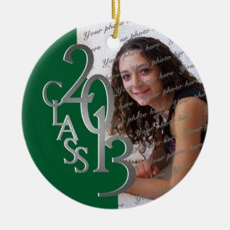 Class 2013 Graduation Photo Green and Silver Ceramic Ornament
