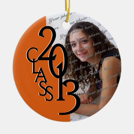 Class 2013 Graduation Photo orange Double-Sided Ceramic Round Christmas Ornament