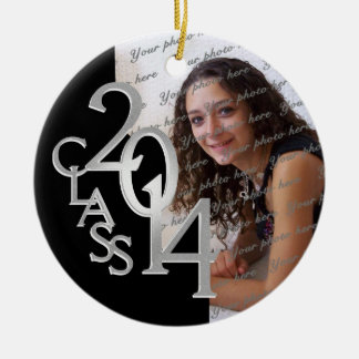 Class 2014 Graduation Photo Black and Silver Double-Sided Ceramic Round Christmas Ornament