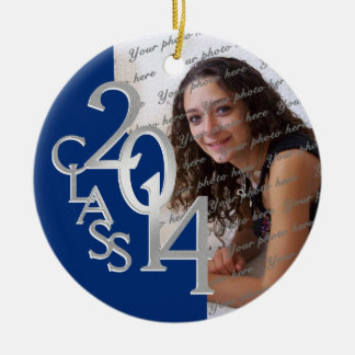 Class 2014 Graduation Photo Blue Silver Double-Sided Ceramic Round Christmas Ornament